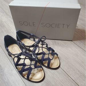 Sole Society Gillian navy leather gladiator sandal